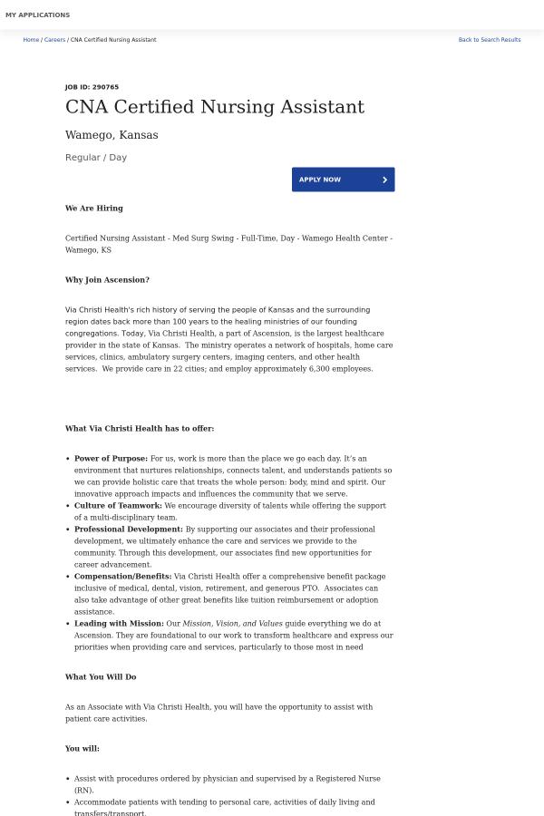 Cna Certified Nursing Assistant Job At Ascension Health In Wamego