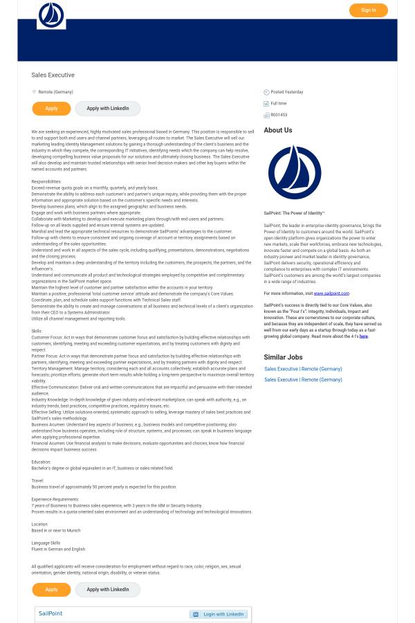 Sales Executive job at SailPoint in Germany - 15625263