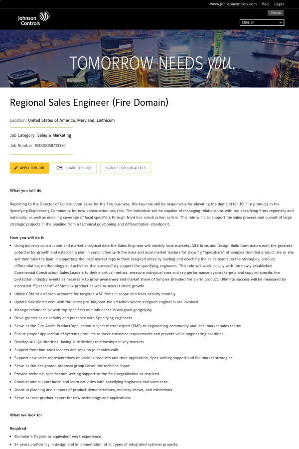 Regional Sales Engineer (Fire Domain) job at Johnson