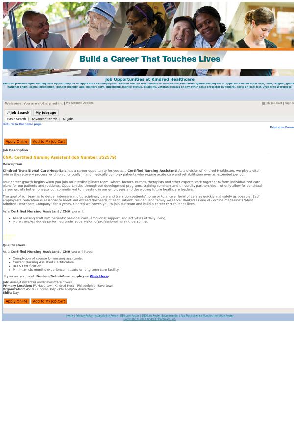 Cna Certified Nursing Assistant Job At Kindred Healthcare In