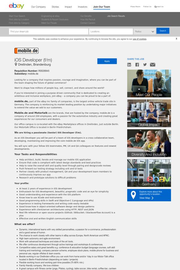 iOS Developer (f/m) job at eBay in Germany - 15632975