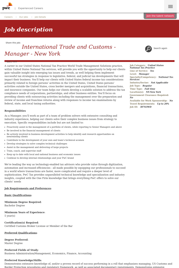 International Trade and Customs - Manager - New York job at