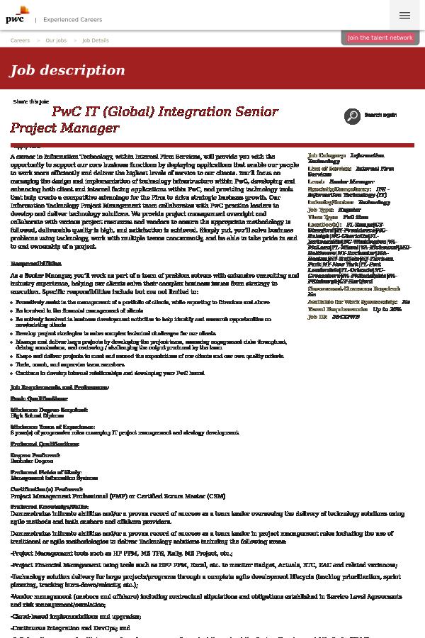 Pwc It Global Integration Senior Project Manager Job At