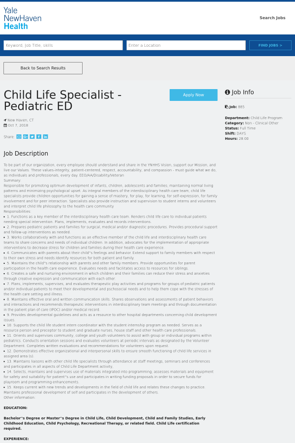 Child Life Specialist Job At Yale New Haven Health System In New
