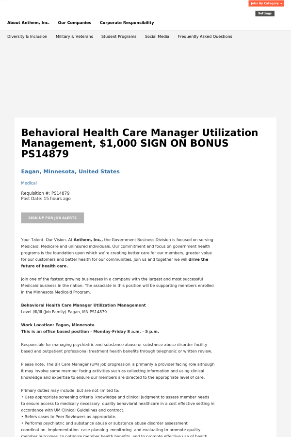 Behavioral Health Care Manager Utilization Management 1 Sign On