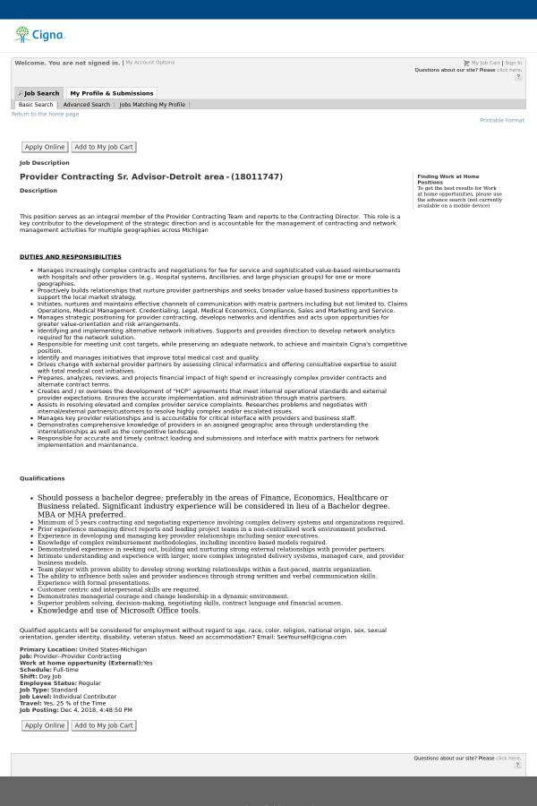 Provider Contracting Senior Advisor Detroit Area Job At Cigna In