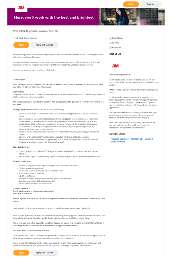 Production Supervisor ∞ job at 3M in Aberdeen, SD - 15659339