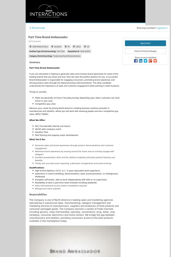 Brand Ambassador Job At Interactions Marketing In Scranton Pa