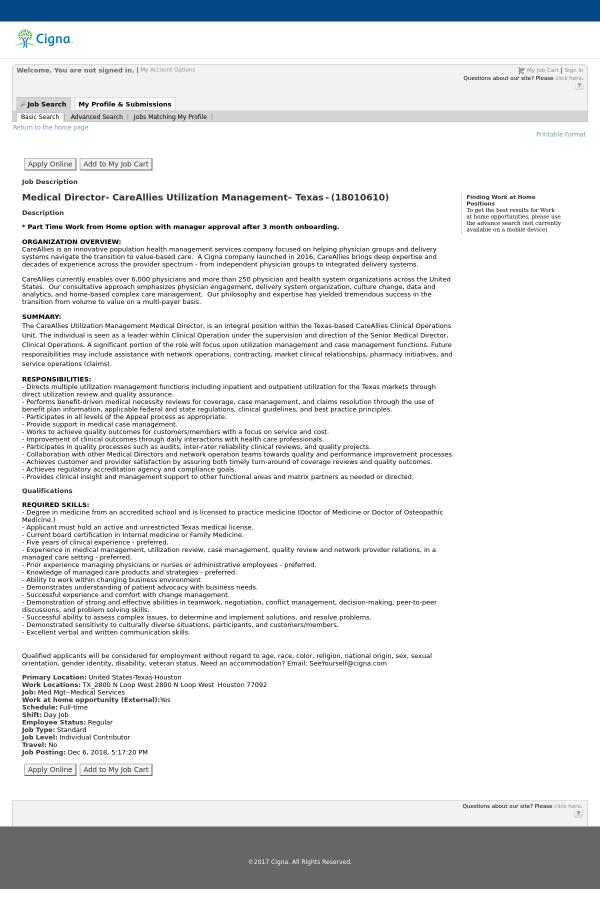 Medical Director Careallies Utilization Management Texas Job At
