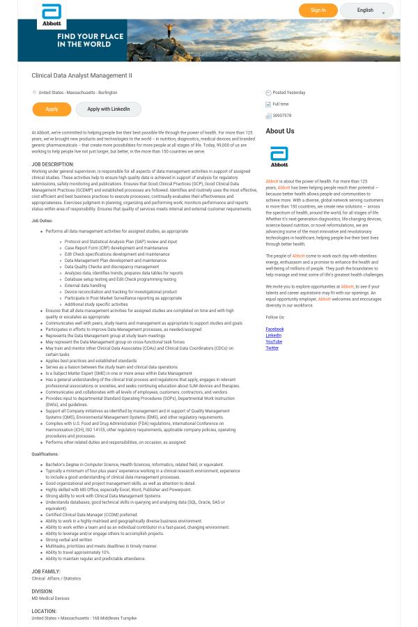 clinical data analyst job description