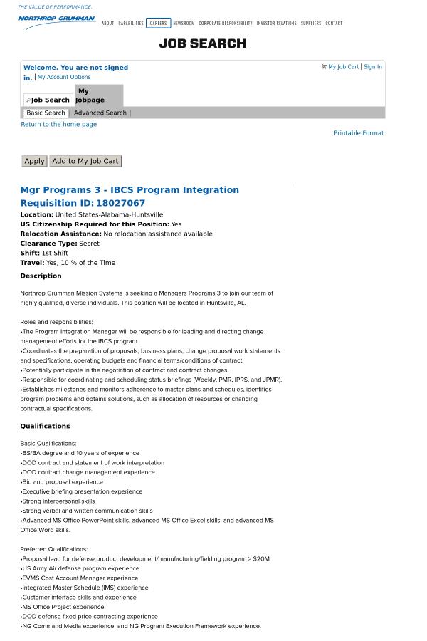 Manager Programs 3 - Ibcs Program Integration job at