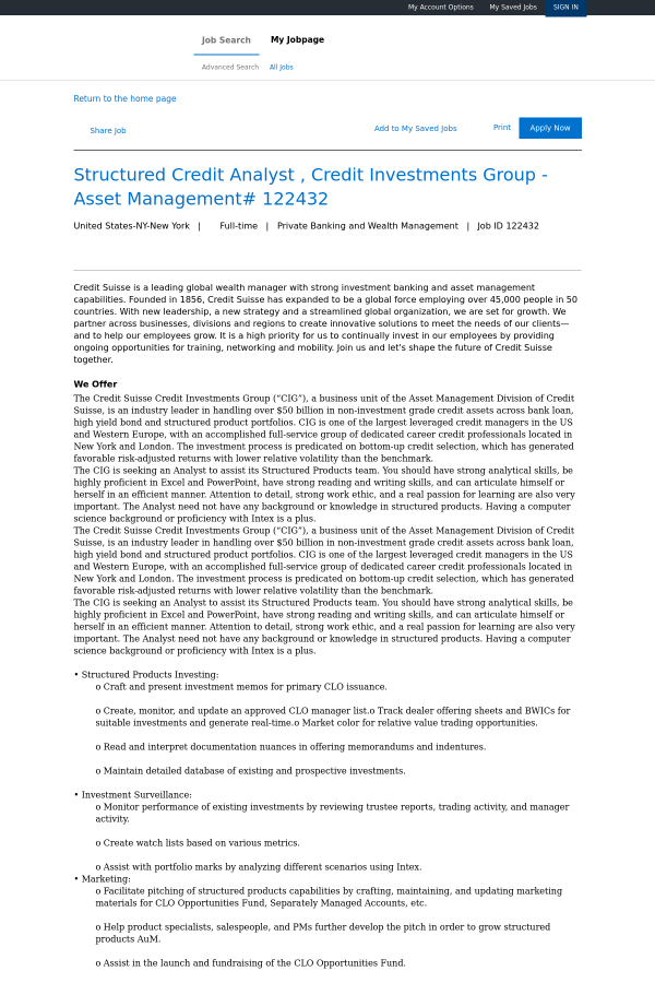 Structured Credit Analyst, Credit Investments Group - Asset