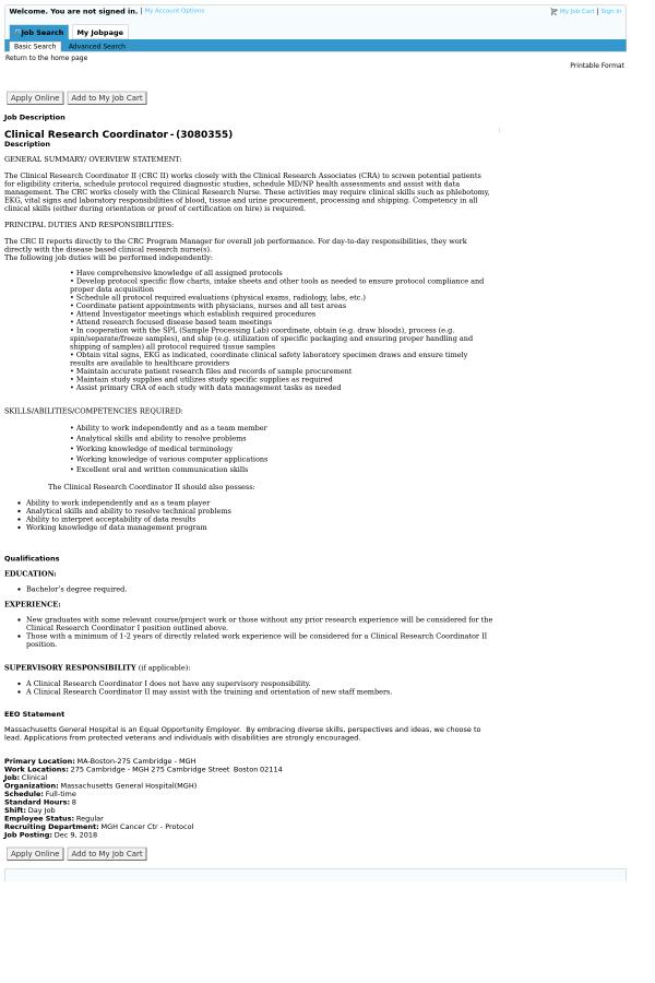 Clinical Research Coordinator job at Massachusetts General