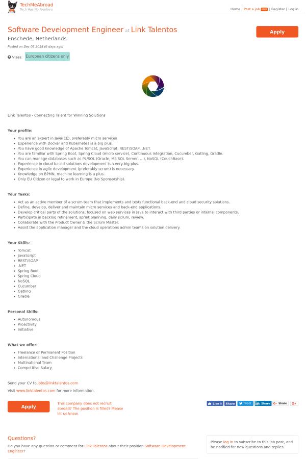 Software Development Engineer job at Link Talentos in