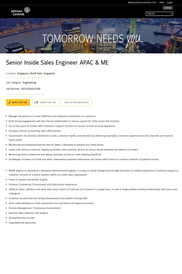 Senior Inside Sales Engineer APAC & ME job at Johnson Controls in