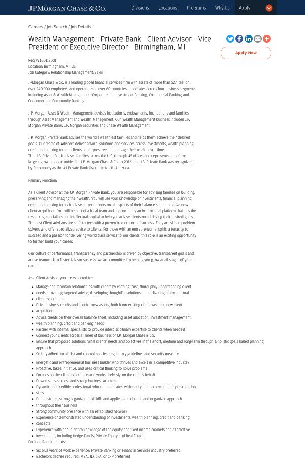 Wealth Management - Private Bank - Client Advisor - Vice
