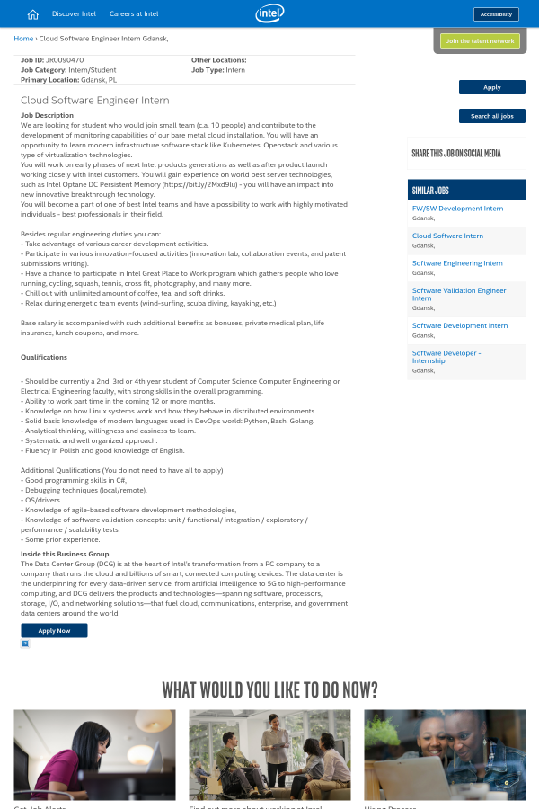 Cloud Software Engineer Intern job at Intel in Gdańsk