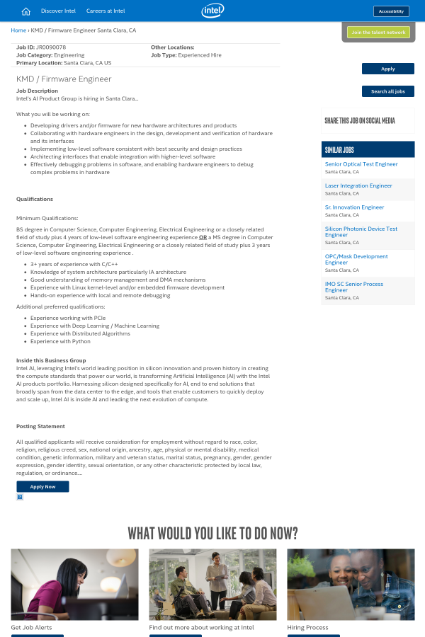 KMD / Firmware Engineer job at Intel in Santa Clara, CA