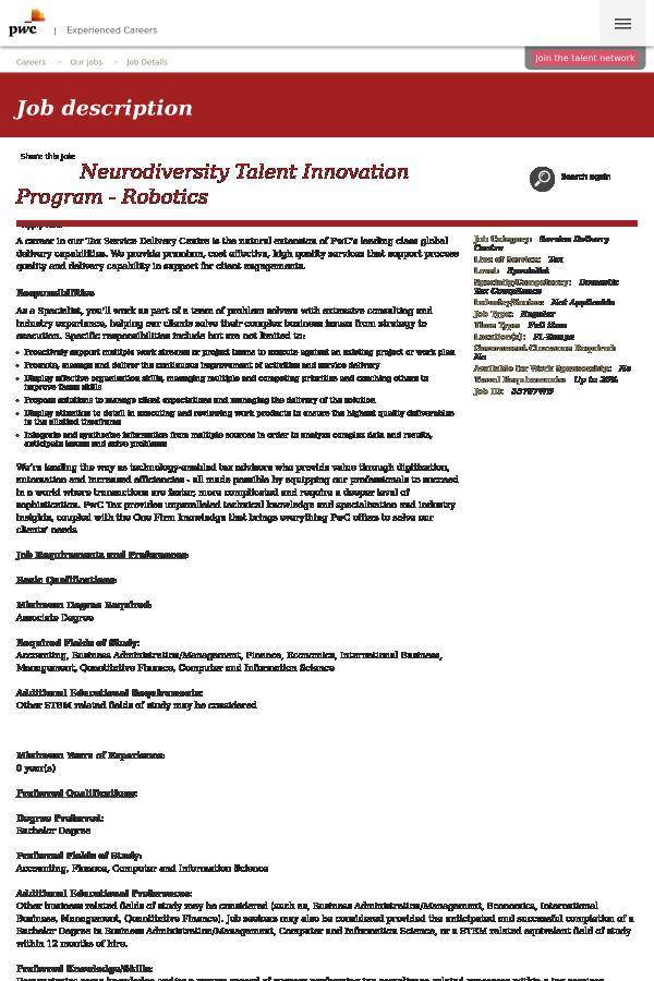 Neurodiversity Talent Innovation Program - Robotics job at