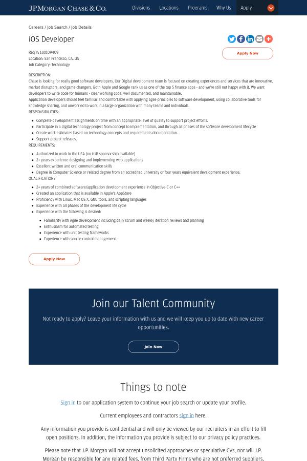 Ios Developer Job At Jpmorgan Chase Co In San Francisco Ca