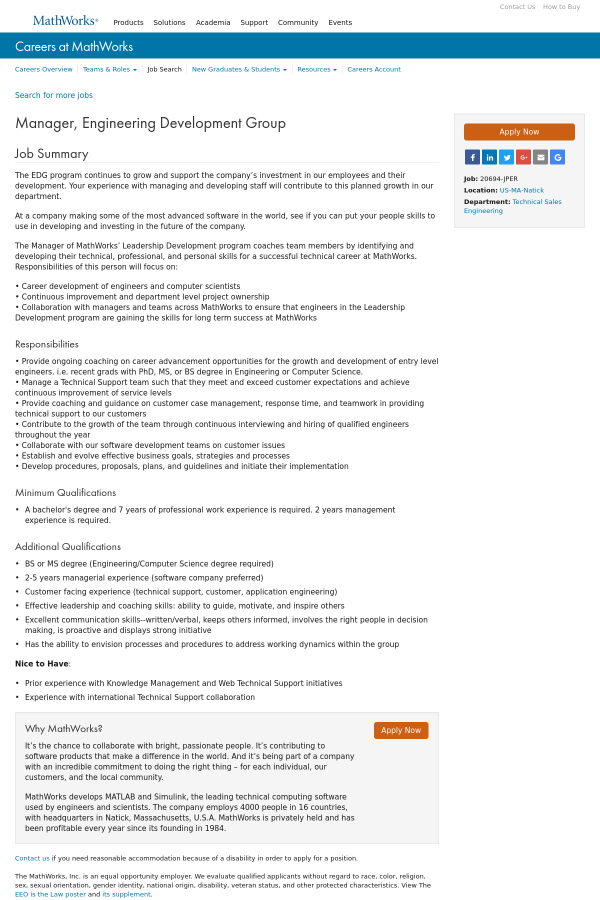 Manager, Engineering Development Group job at MathWorks in