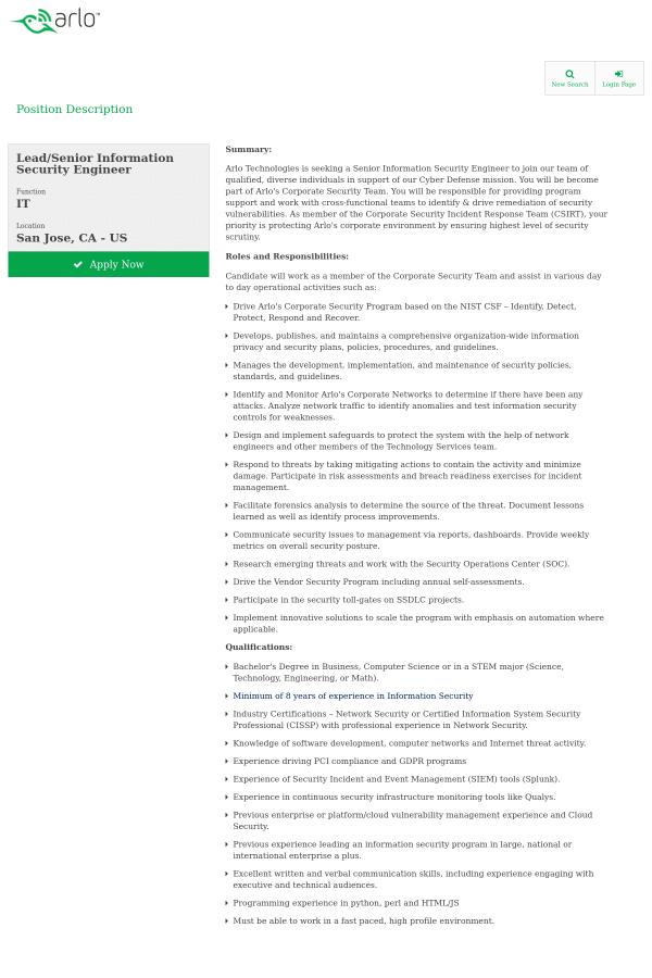 Lead / Senior Information Security Engineer job at Arlo in