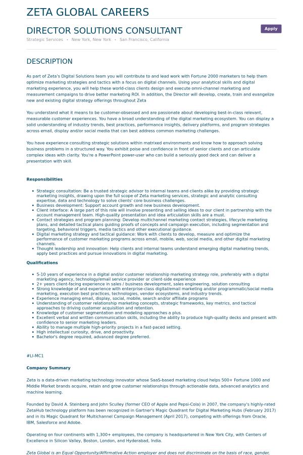 Director Solutions Consultant job at Zeta Interactive in San