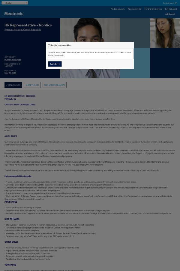 HR Representative - Nordics job at Medtronic in Prague