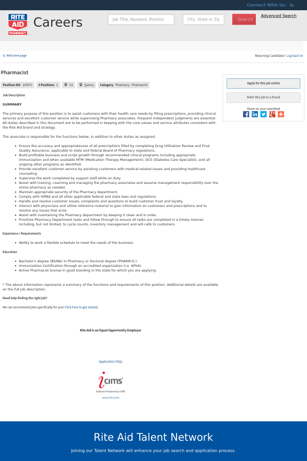 Pharmacist Job At Rite Aid In Quincy Ca 15765766 Tapwage Job Search