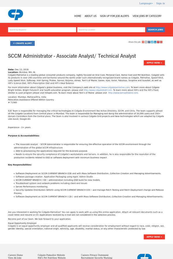 SCCM Administrator - Associate Analyst / Technical Analyst job at ...