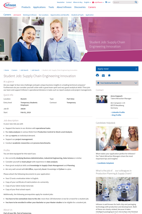 Student: Supply Chain Engineering Innovation job at Infineon in