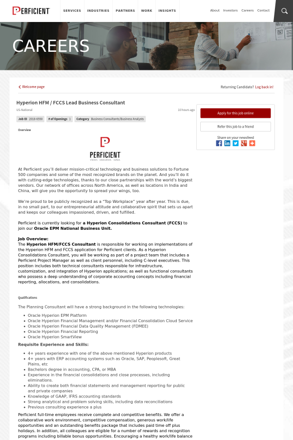 Hyperion Hfm Fccs Lead Business Consultant Job At Perficient In