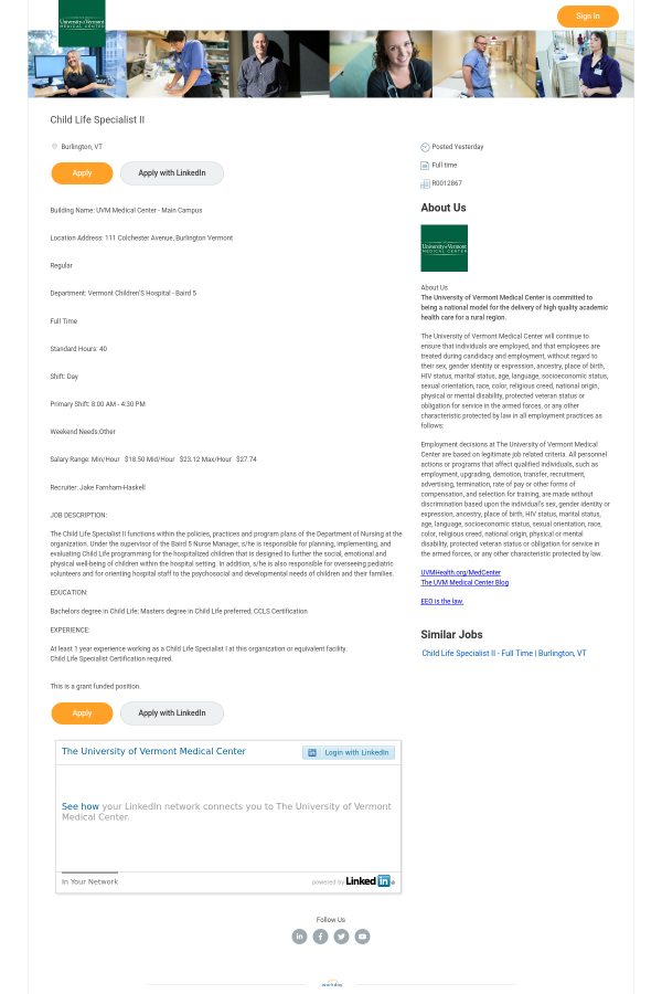 Child Life Specialist Ii Job At University Of Vermont Medical Center