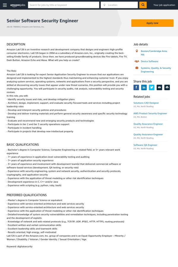 Senior Software Security Engineer job at Amazon in Cambridge