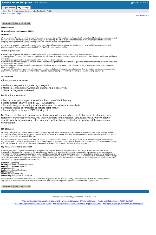 Structural Dynamics Engineer job at Textron Inc  in Fort Worth, TX