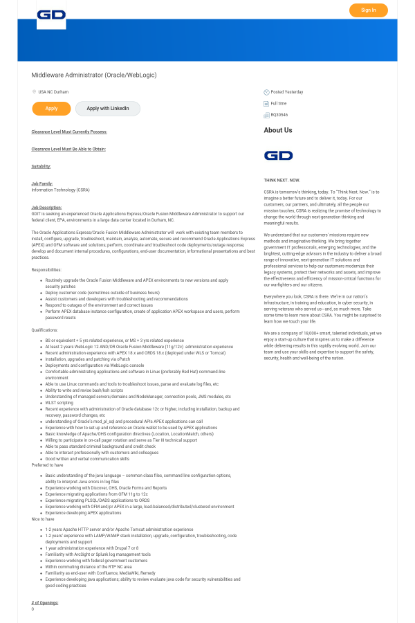 Middleware Administrator (Oracle / WebLogic) job at CSRA in
