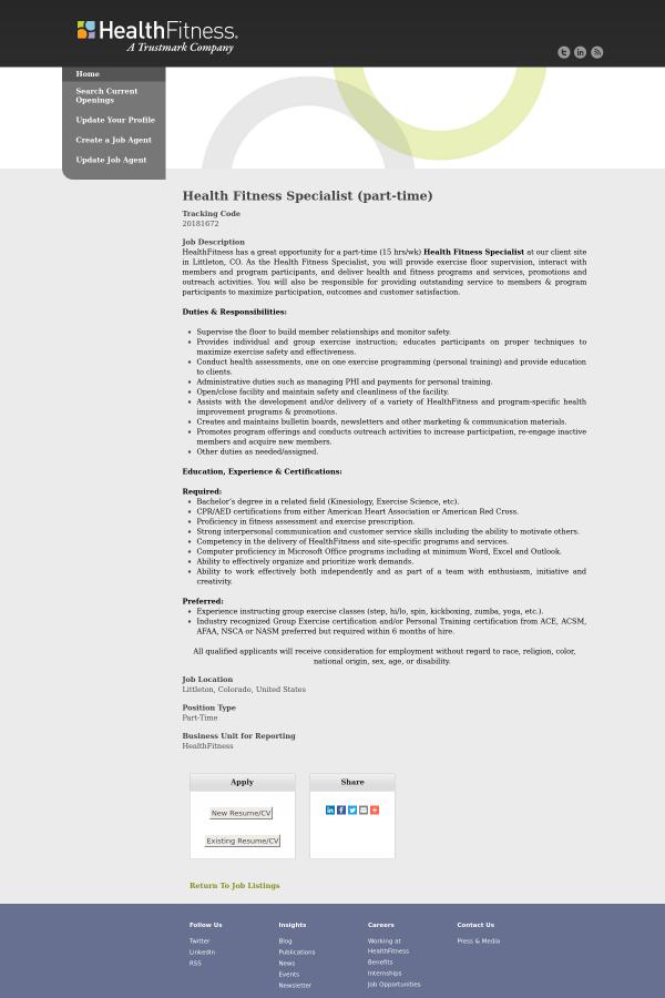 fitness specialist job description - Madran kaptanband co