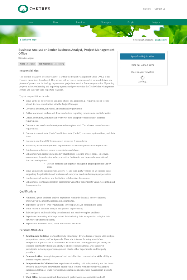 Business Analyst or Senior Business Analyst, Project Management