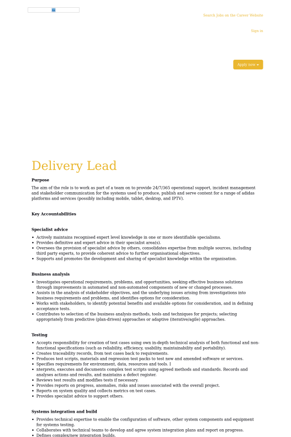 Delivery Lead job at Adidas in Amsterdam, Netherlands - 15874873