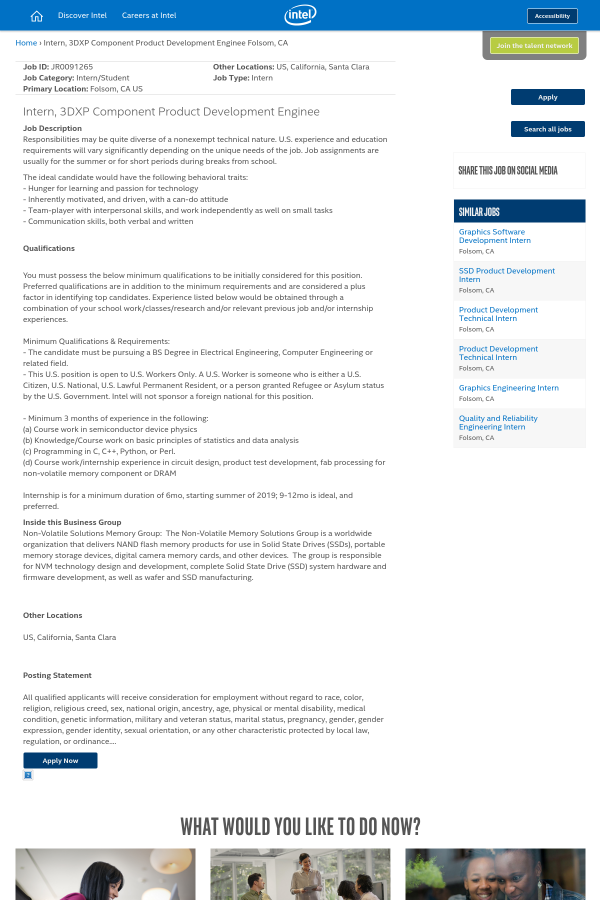 Intern, 3dxp Component Product Development Enginee job at