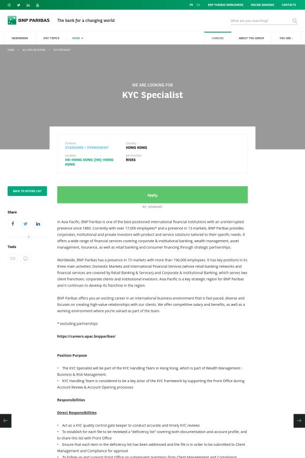KYC Specialist job at BNP Paribas in Hong Kong - 15918773