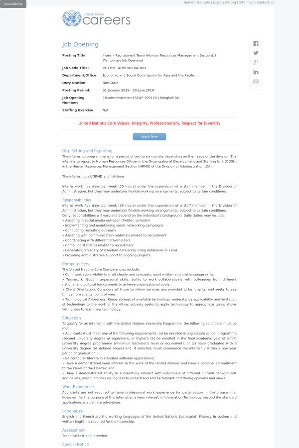 Intern - Recruitment Team (Human Resources Management Section), I