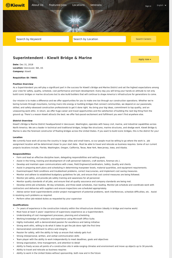 Superintendent - Kiewit Bridge & Marine job at Kiewit in