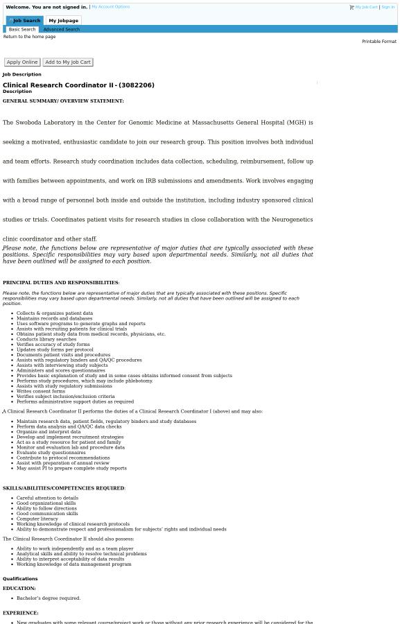 Clinical Research Coordinator II job at Massachusetts