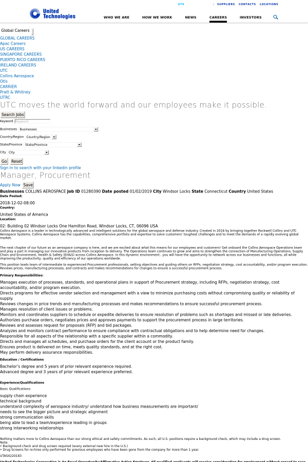 Manager, Procurement job at United Technologies in Windsor Locks, CT