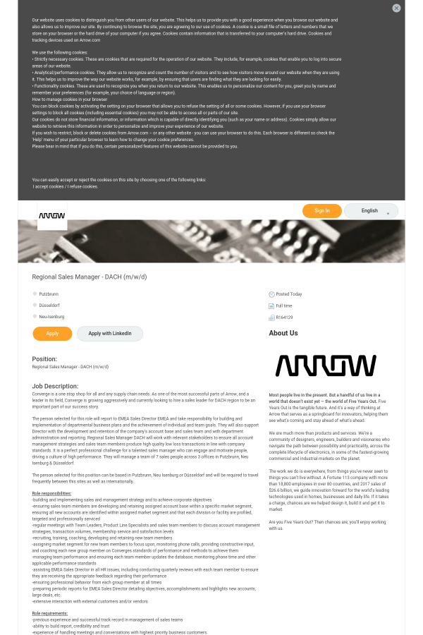 Regional Sales Manager Dach M W D Job At Arrow Electronics In