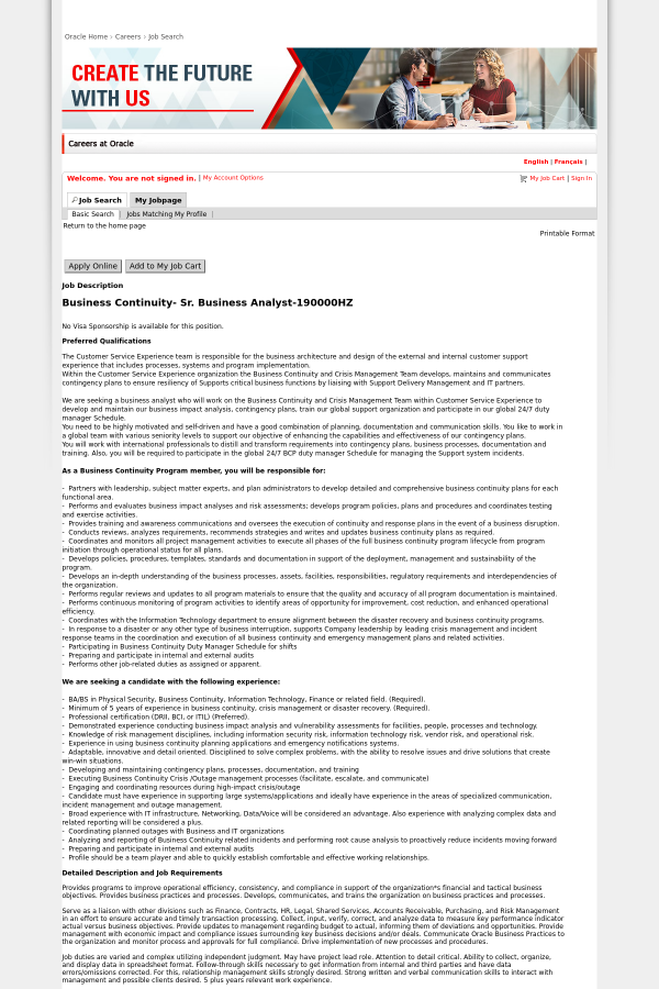 Business Continuity Senior Business Analyst Job At Oracle In