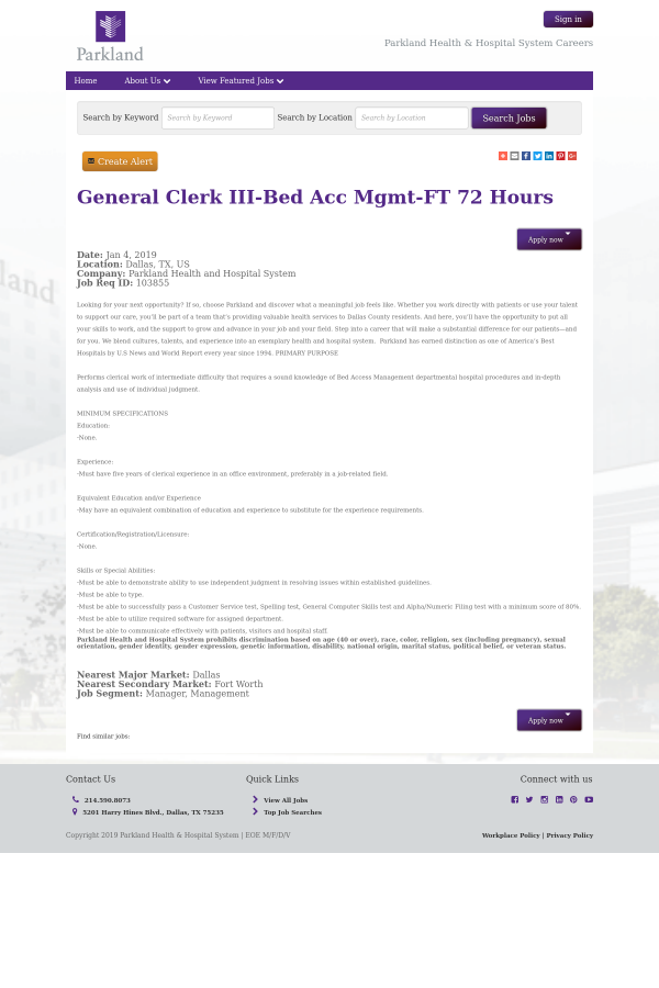 a33479137b3 General Clerk III - Bed Acc Management - 72 Hours job at Parkland ...