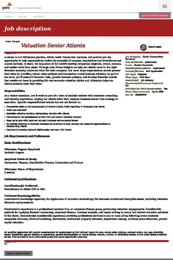Valuation Senior Atlanta job at PricewaterhouseCoopers in