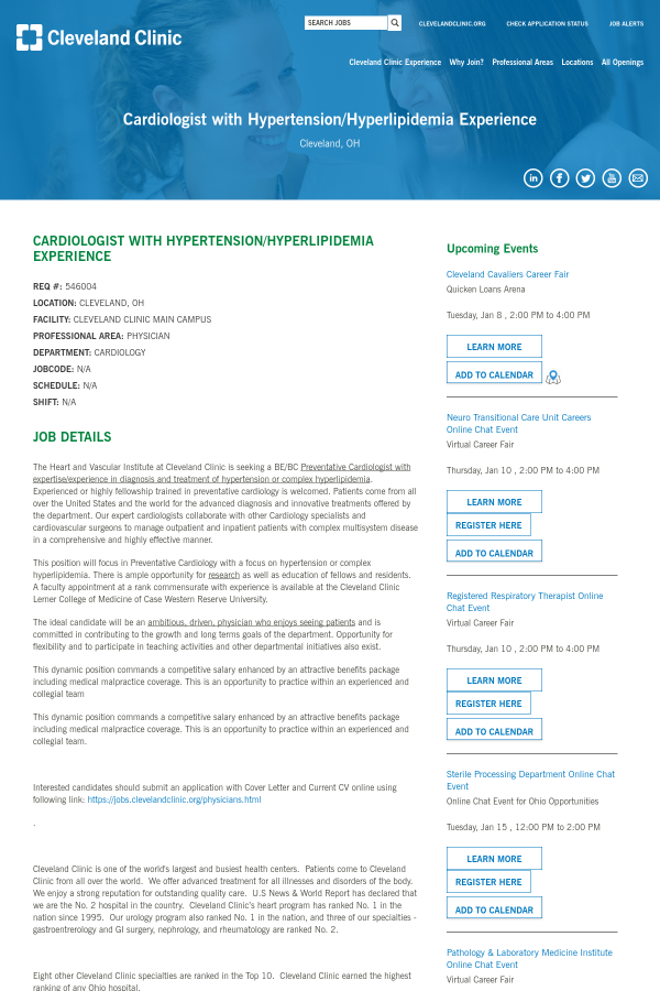 Cardiologist With Hypertension / Hyperlipidemia Experience
